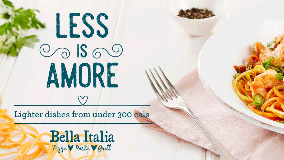 Image result for bella italia less is amore
